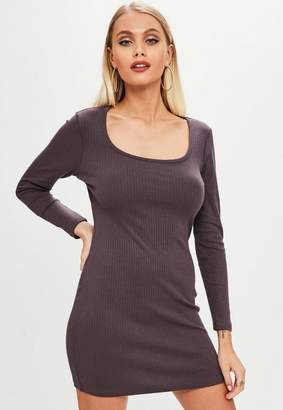 Missguided Petite Purple Rib Long Sleeve Dress