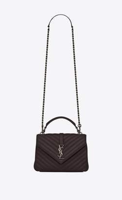 Saint Laurent Medium College Bag In Black Tulip Quilted Leather