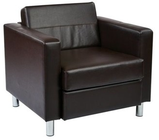 Office Star AVE SIX by Products Pacific Easy-Care Faux Leather Armchair with Box Spring Seat & Silver Color Legs