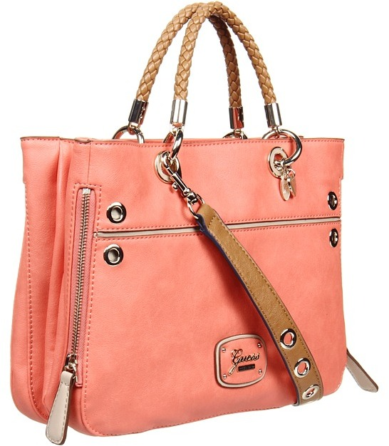 GUESS Briza Medium Satchel (Coral Multi) - Bags and Luggage