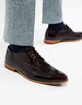 Asos Design DESIGN brogue shoes in burgundy leather with natural sole