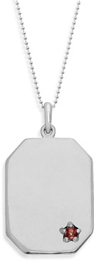 Bed Bath & Beyond emma&me forever™ Sterling Silver and Garnet Dog Tag Pendant