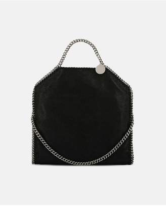 Stella McCartney Black Falabella Shaggy Deer Fold Over Tote