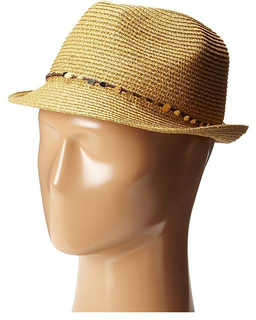 Tommy Bahama - Paper Braid Fedora with Sequins Trim Fedora Hats