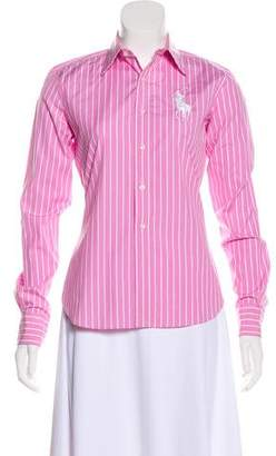 Ralph Lauren Black Label Striped Button-Up Top