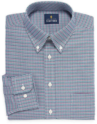 STAFFORD Stafford Travel Stretch Oxford Big And Tall Long Sleeve Checked Dress Shirt