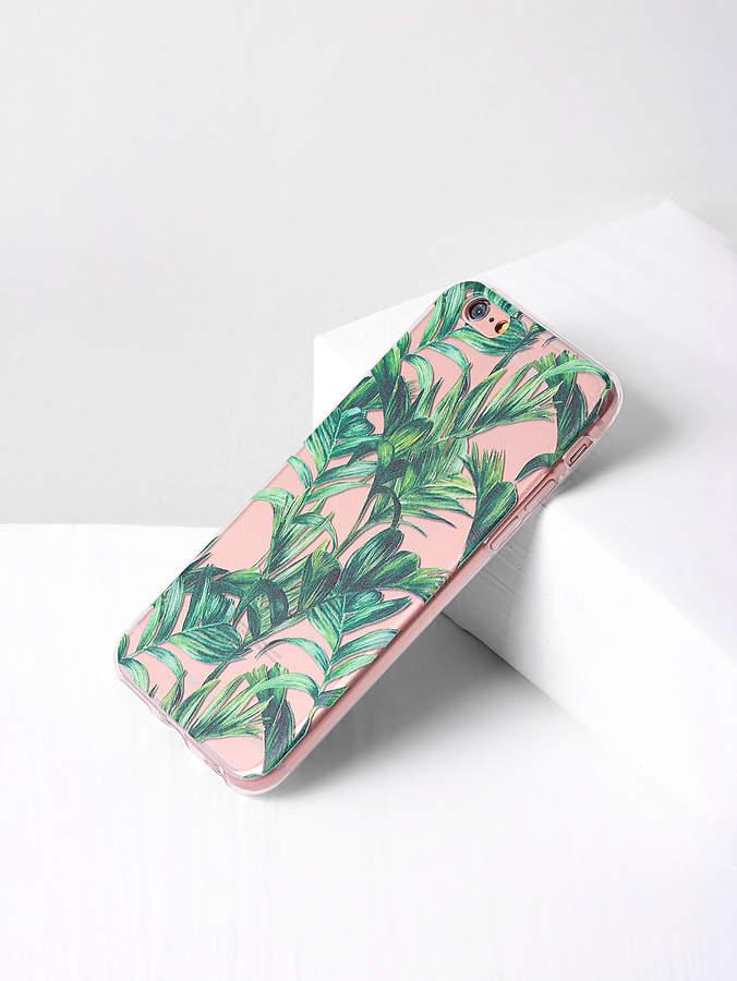 Green Leaf Print Clear iPhone Case