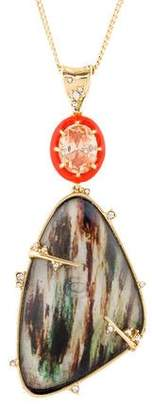 Alexis Bittar Satellite Crystal & Iridescent Wood Grain Pendant Necklace