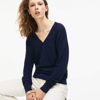 Lacoste Women's V-neck Seed Stitch Cotton Sweater
