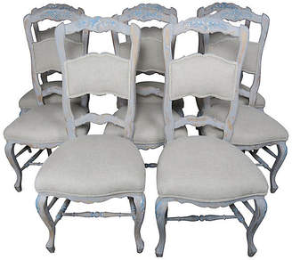 One Kings Lane Vintage Set of (8) French Painted Dining Chairs