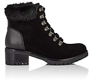 Barneys New York WOMEN'S FAUX-FUR-COLLAR SUEDE ANKLE BOOTS-BLACK SIZE 5