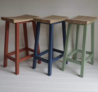 Rectory Blue Scandi Stool Hand Painted In Any Colour