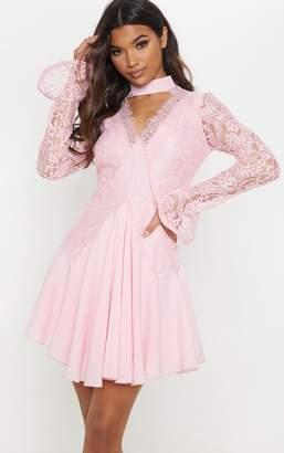 PrettyLittleThing Dusty Pink Lace Panel Choker Detail Frill Hem Shift Dress