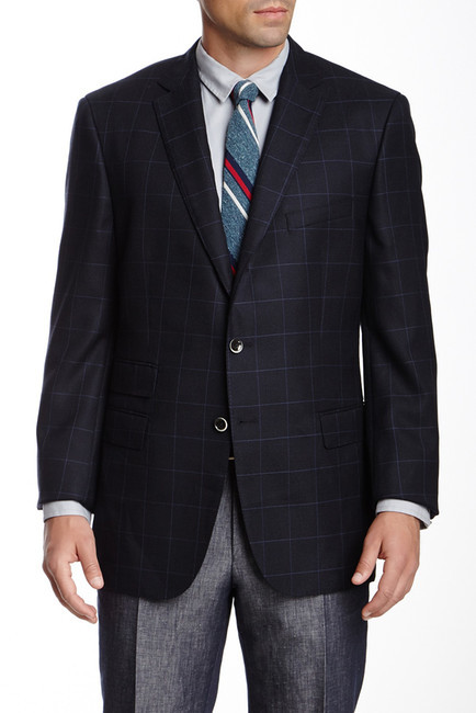 Hugo BossHUGO BOSS T Jordan Navy Windowpane Wool Blend Notch Lapel Blazer