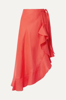 Miguelina Liviona Ruffled Linen Wrap Skirt - Tomato red
