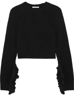 Helmut Lang - Cropped Ruffle-trimmed Wool And Cashmere-blend Sweater - Black $395 thestylecure.com