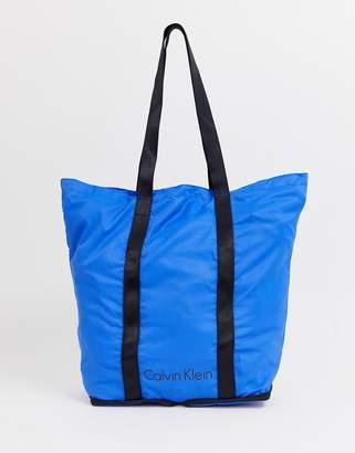 Calvin Klein Packable Shopper Bag in Bright Blue