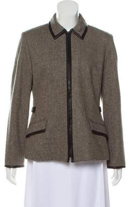 Oscar de la Renta Oscar by Leather-Trimmed Tweed Jacket