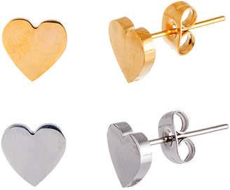 FINE JEWELRY Two-Tone IP Stainless Steel 2-Pc. Heart Stud Earring Set