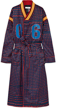 Facetasm Oversized Ribbed Cotton-trimmed Printed Crepe Robe - Navy