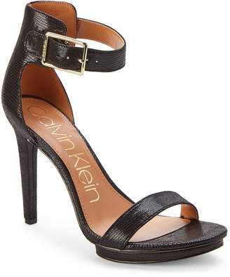 Calvin Klein Black Vivian Ankle-Strap Sandals