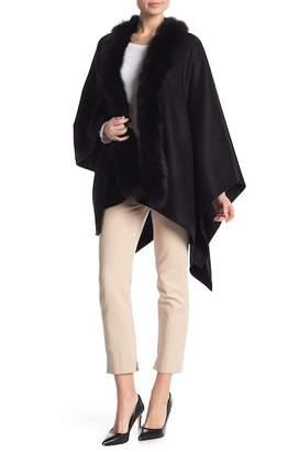Sofia Cashmere Genuine Dyed Fox Fur Trim Wool Blend Cape
