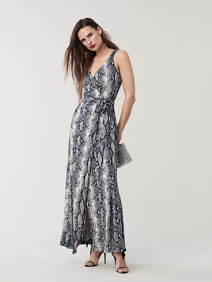 ca481e5719 Diane von Furstenberg Elisha Silk Jersey Maxi Wrap Dress
