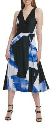 DKNY Printed Faux-Wrap Midi A-Line Dress