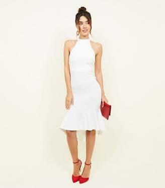 New Look White High Neck Peplum Hem Dress