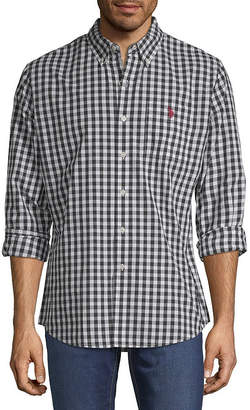 U.S. Polo Assn. USPA Mens Long Sleeve Gingham Button-Front Shirt