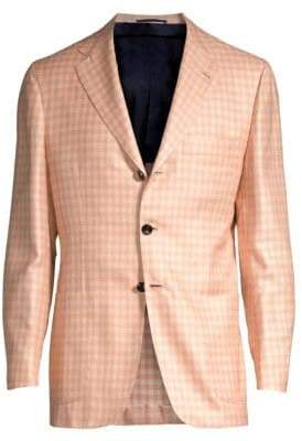 Kiton Gingham Single-Breasted Wool, Silk & Linen Blazer