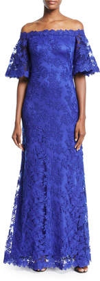 Tadashi Shoji Lace Off-the-Shoulder Long Gown