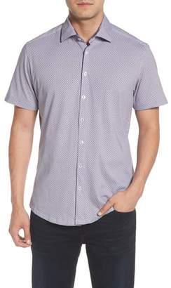 Stone Rose Trim Fit Diamond Geo Print Knit Sport Shirt