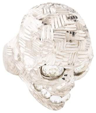 Alexander McQueen Crystal Filigree Skull Ring