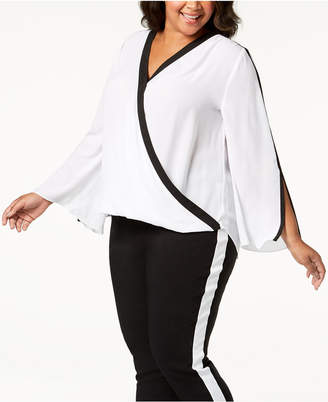 INC International Concepts I.n.c. Plus Size Contrast-Trim Surplice Top, Created for Macy's