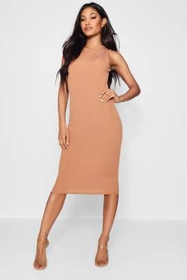 boohoo Grace Ribbed High Neck Midi Dress