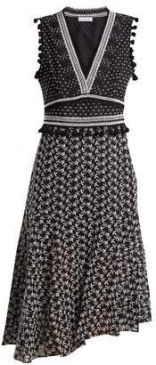 Altuzarra Eiffel V Neck Broderie Anglaise Dress - Womens - Black White