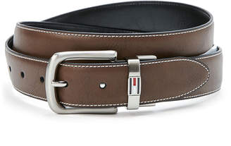 Tommy Hilfiger Contrast-Stitch Feathered Belt