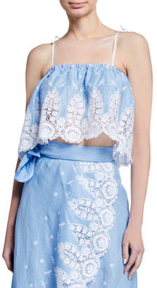 Miguelina Lyla Cropped Lace Coverup Top