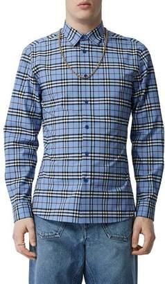 Burberry Men's Simpson Check Long-Sleeve Sport Shirt