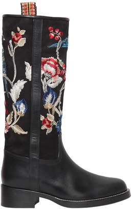 Etro 30mm Embroidered Suede & Leather Boots