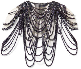 Monique Lhuillier Embellished Tulle Cape - Black