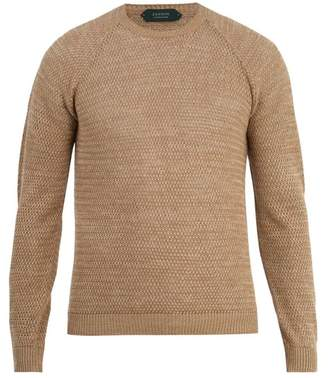 Zanone Crew Neck Linen Cotton Knit Sweater - Mens - Beige