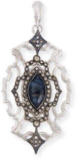 Armenta New World Blue Pietersite Open Scroll Enhancer with Diamonds