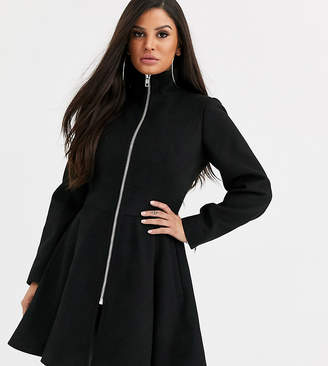 Asos DESIGN Petite swing coat with zip front detail in black