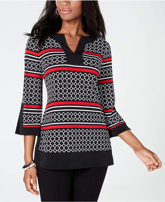 Charter Club Printed Split-Neck Tunic