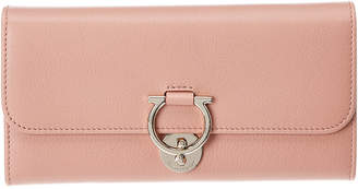 Salvatore Ferragamo Gancini Clasp Continental Leather Wallet