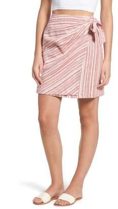 BP Stripe Linen Blend Wrap Skirt