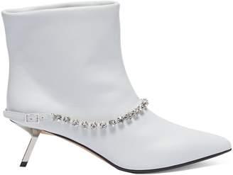 Ballin Alchimia di Slanted heel glass crystal belt leather ankle boots