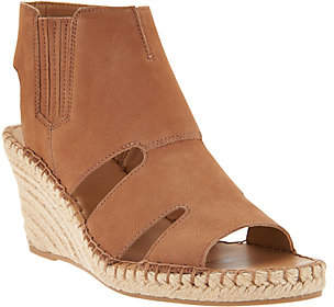 Franco Sarto Leather Cut-out Espadrille Wedges- Nola
